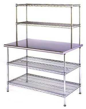 Adustable Work Benches - Stainless steel table top shelves